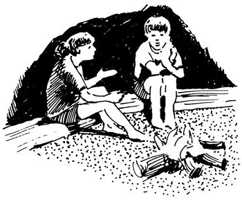 sitting by campfire sketch